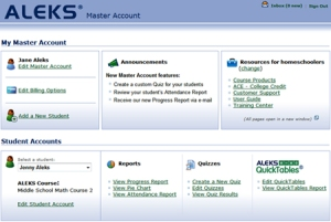 aleks Master-Account_Homepage