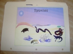 The cover my son used as a title page, decorated with stickers of assorted reptiles found in this lapbook.